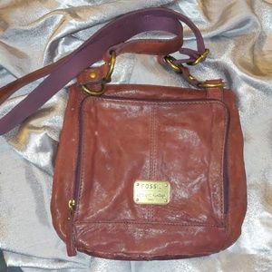 Fossil Plum Brown Crossbody Purse